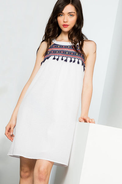 THML Stripe Halter Dress with Embroidery