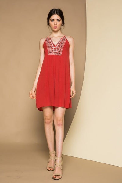 Halter Dress With Embroidered Bib