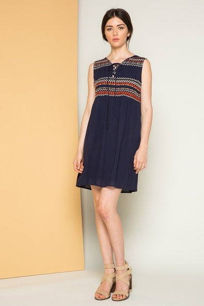 Navy Blue Embroidered Sleeveless Lace up Dress