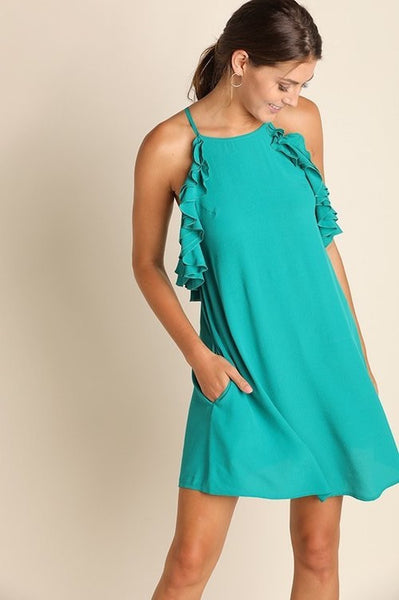 Jade Sleeveless Dress with Ruffled detail and pockets