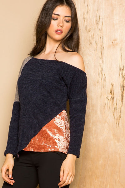 THML Asymmetrical Color-block Sweater with Velvet Detailing