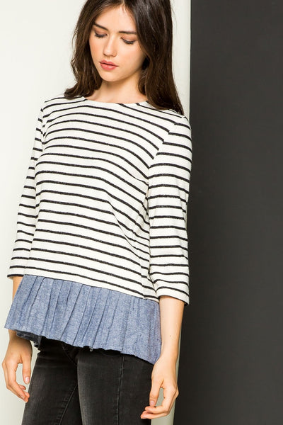 XXXStripe Knit Sweater with Denim