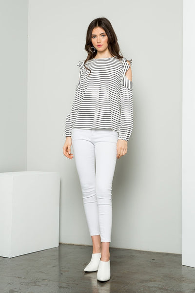 THML Ruffled Cold Shoulder Stripe Top