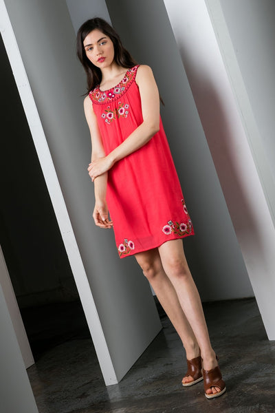 THML Embroidered Shift Dress in Coral