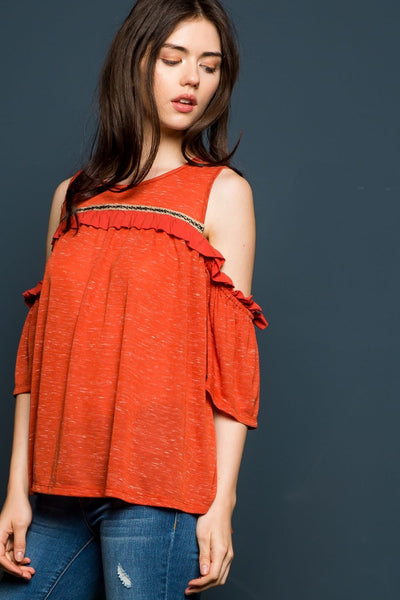 Cold Shoulder Knit Top with Ruffle