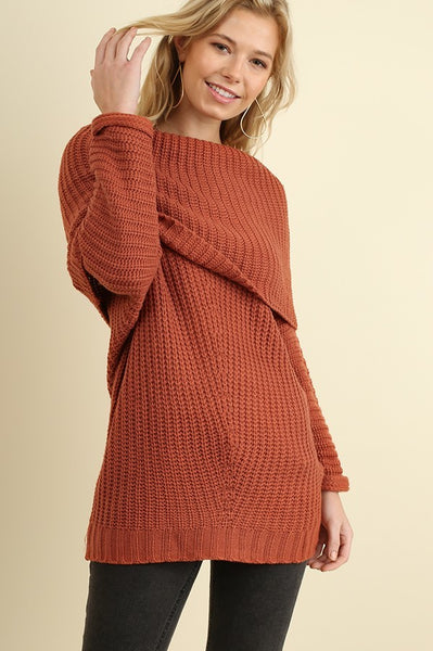 Fold Over Sweater in Brick