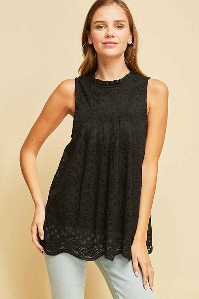 Checkered lace mock-neck top in black