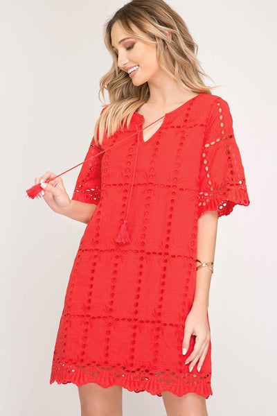 Tomato Eyelet  Dress with Tassel