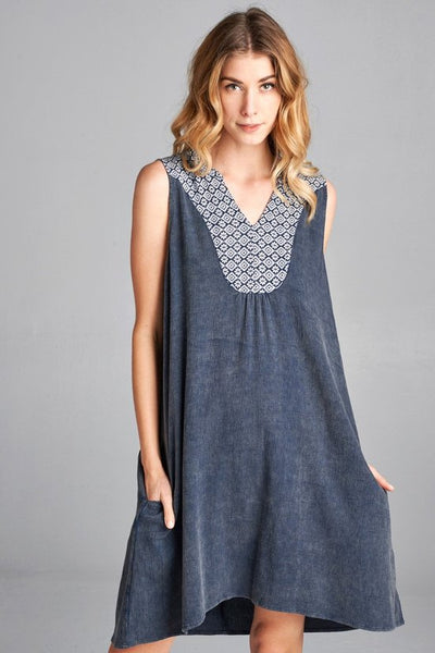 Sleeveless Mineral Washed Flare Dress