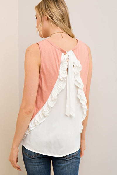 Blush Sleeveless Top with Back Ruffle Cream Detail