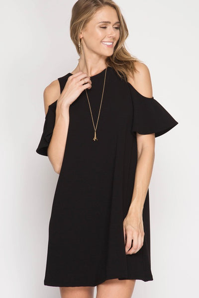 XXXCOLD SHOULDER SWING DRESS
