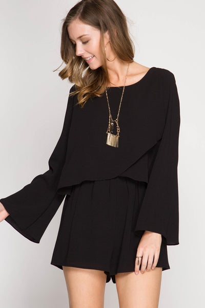 Black LONG FLARE SLEEVE ROMPER