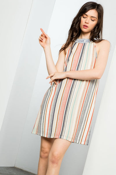THML Stripe Halter Dress