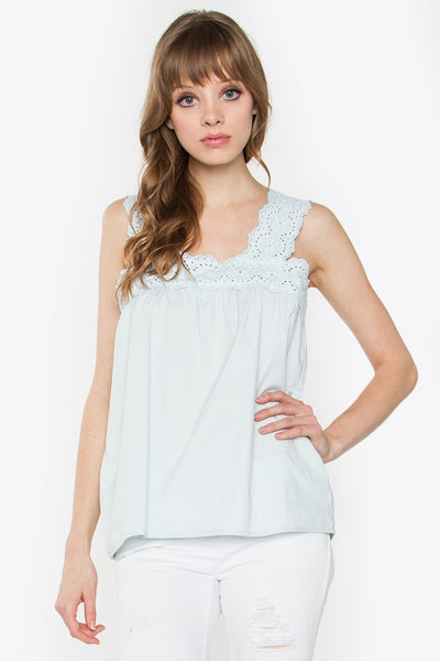 Eyelet Light Turquoise Top