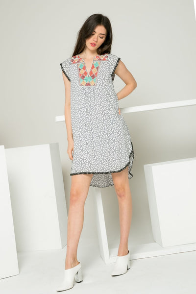 THML Embroidered Dress with Pom Poms