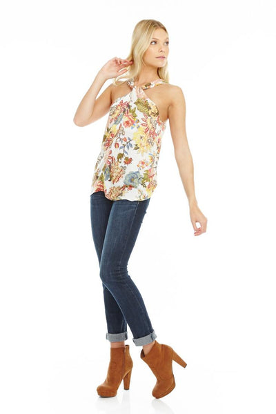 Floral Cross Neck Top