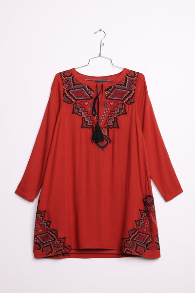 Long Sleeve Peasant Dress with Embroidered Center
