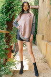THML Color Blocked Sweater in Pink and Heather Gray