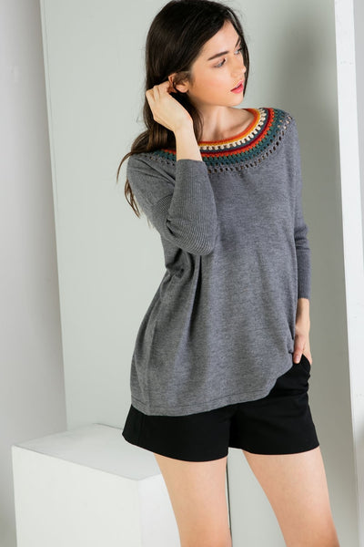 THML Knit Sweater with Neckline Details in Heather Gray