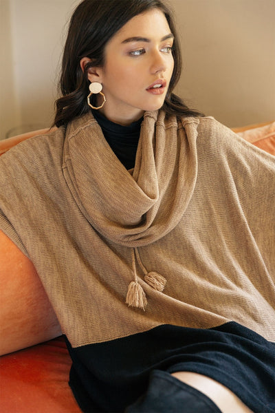 THML Color Block Poncho in Black and Beige