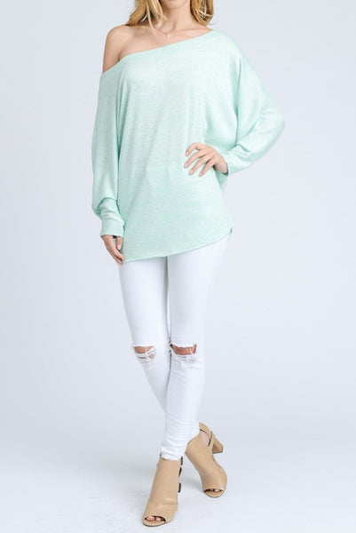 Off the shoulder marled knit dolman sleeve top