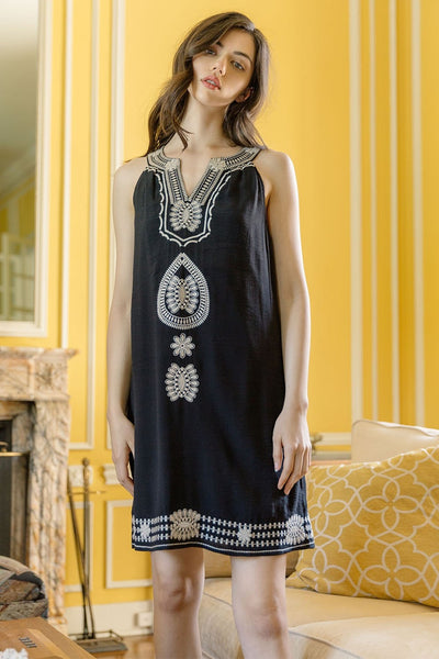 THML Embroidered Shift Dress in Black