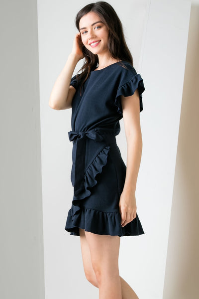 THML Ruffle Wrap Dress in Navy