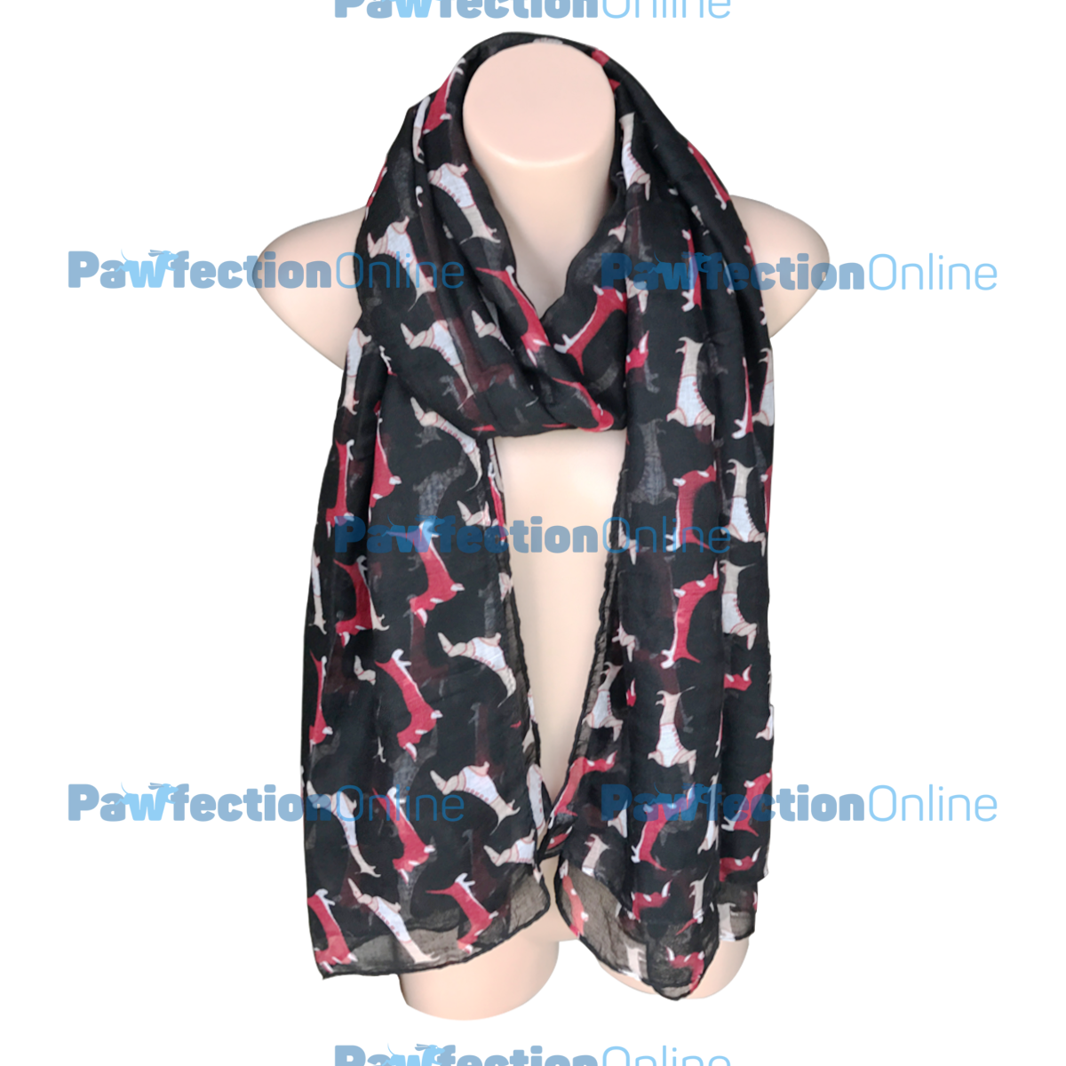 The dachshund sausage dog print scarves are made from a light sheer voile material. The beautiful soft scarves are a great gift idea for any dachshund lover.