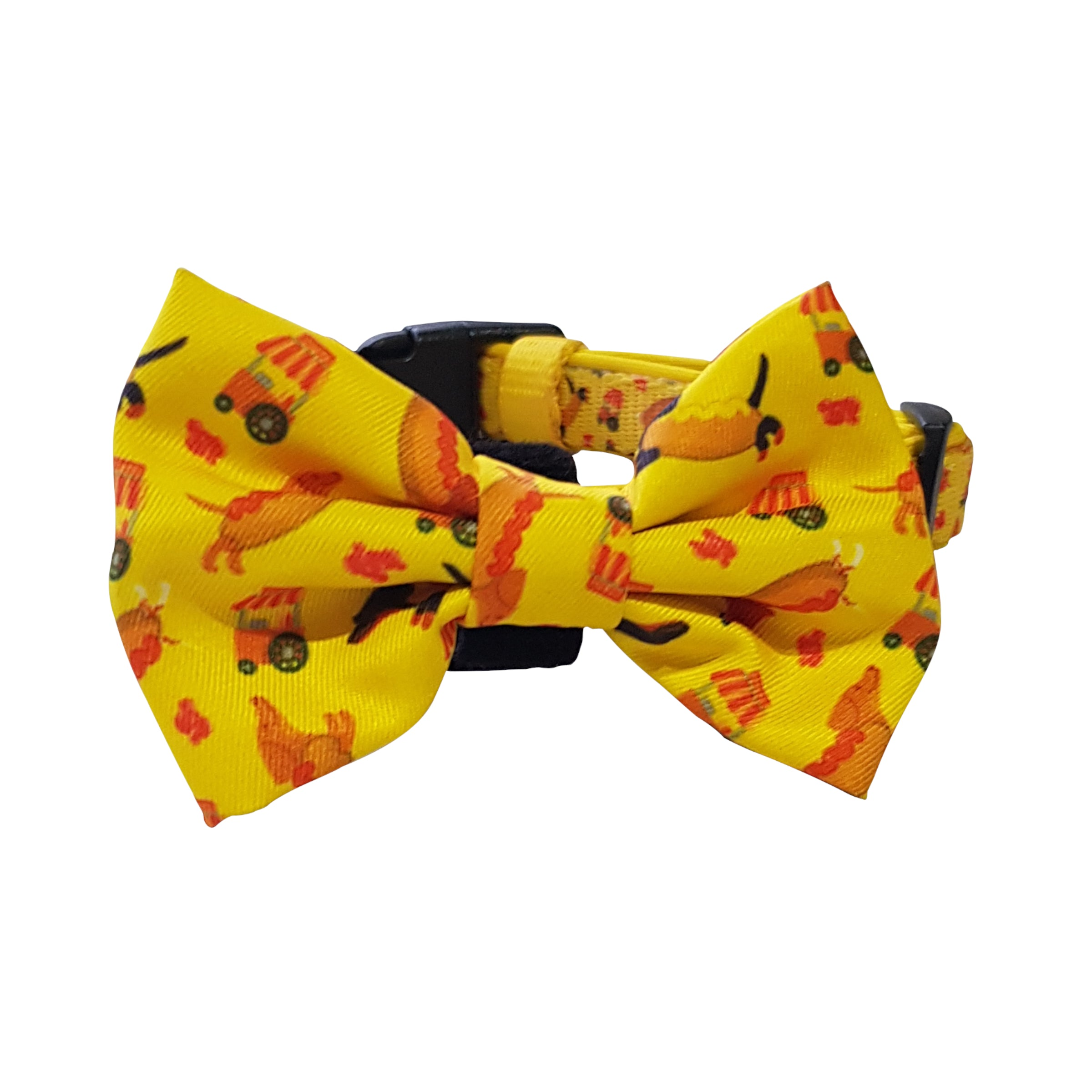 Stand out at the dog park with this fun and bright Hot Dog printed Collar and Bow Tie that is both quick drying and breathable fabrics. This collar includes a detachable bow that you can strap on for fancy occasions. Great for dachshund puppies through to adult standard dachshunds and other small dog breeds.