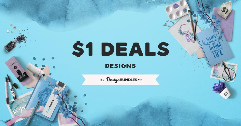 1 HOUR - $1 SVG, Clipart & Font Deal Starts NOW!