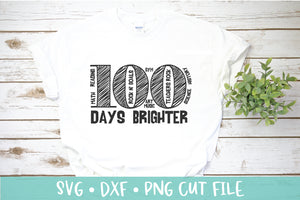 100 Days of School Shirt SVG DXF Cut File