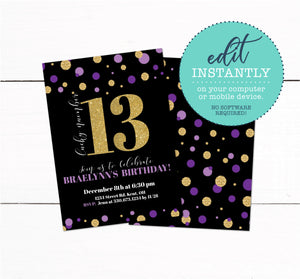 Gold Purple Glitter 13 Birthday Party Invitation