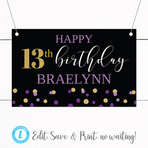 Gold Purple Glitter Thirteenth Birthday Party Banner