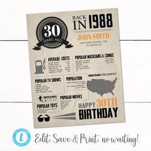 1988 30TH Birthday Sign - 1988 Year in Review - Birthday Year Facts Sign - 30th Birthday Poster - Birthday Poster Sign - Newspaper Facts