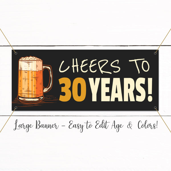 21st Birthday Banner - 40th Birthday Banner - 30th Birthday Banner - Cheers Beer Birthday Banner - Adult Birthday Decor - Surprise Birthday Party