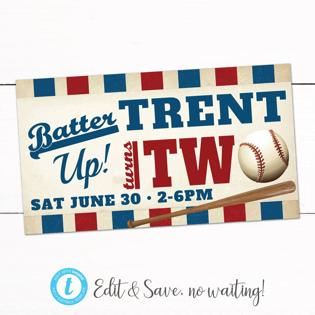 Baseball Birthday Party Facebook Event Banner Taylor George Designs