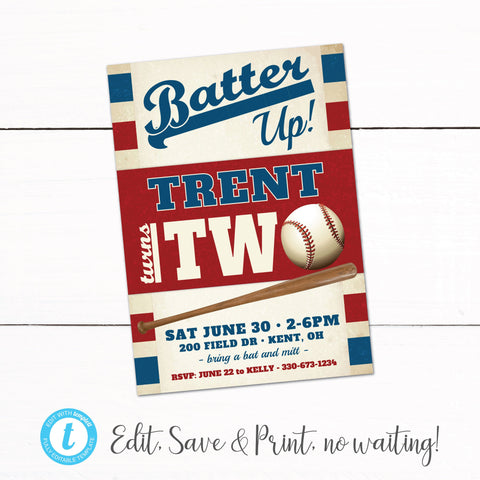Baseball Birthday Party Invitation - Vintage Baseball Invitation - Printable Baseball Invitation - Boys Birthday Invitation - Baseball Party