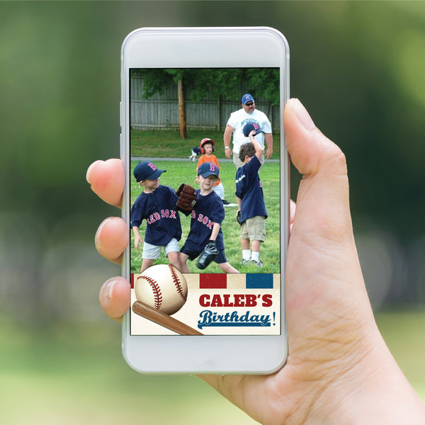 Baseball Birthday Party Snapchat Geofilter - Vintage Baseball picture geo filter - Baseball Party Decor - Boys Birthday - Summer Birthday