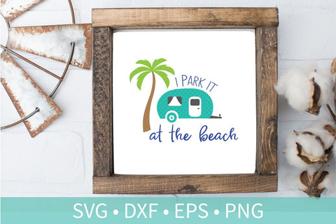 Beach Camper SVG DXF EPS Silhouette Cut File