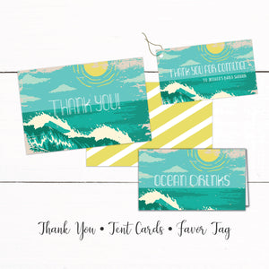 Beach Surf Baby Shower Thank You Gift Tag Tent Cards - Baby Shower Beach Theme - Ocean Surf Shower Theme - Shower Decor - Automatic Download