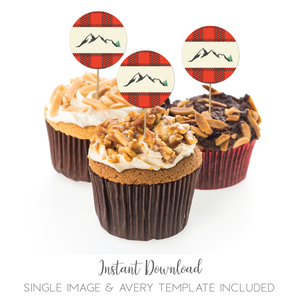 Buffalo Plaid Mountains 2 Inch Cupcake Topper Favor Stickers