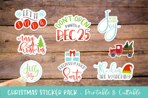 Christmas Sticker Bundle 8 Pack - Printable Cuttable PNG