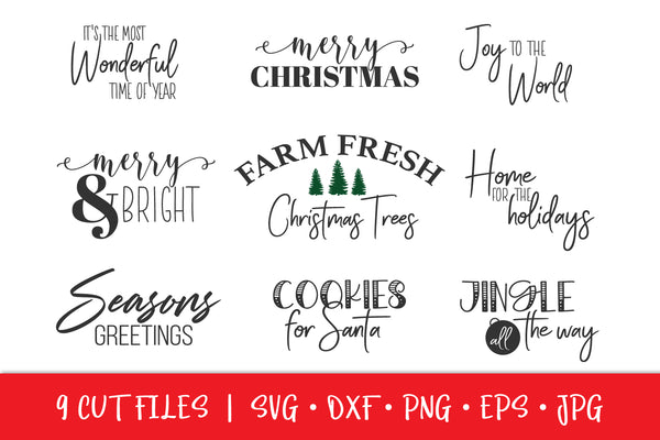 Christmas Crafting Sign Bundle SVG DXF EPS - 9 Christmas Cut Files