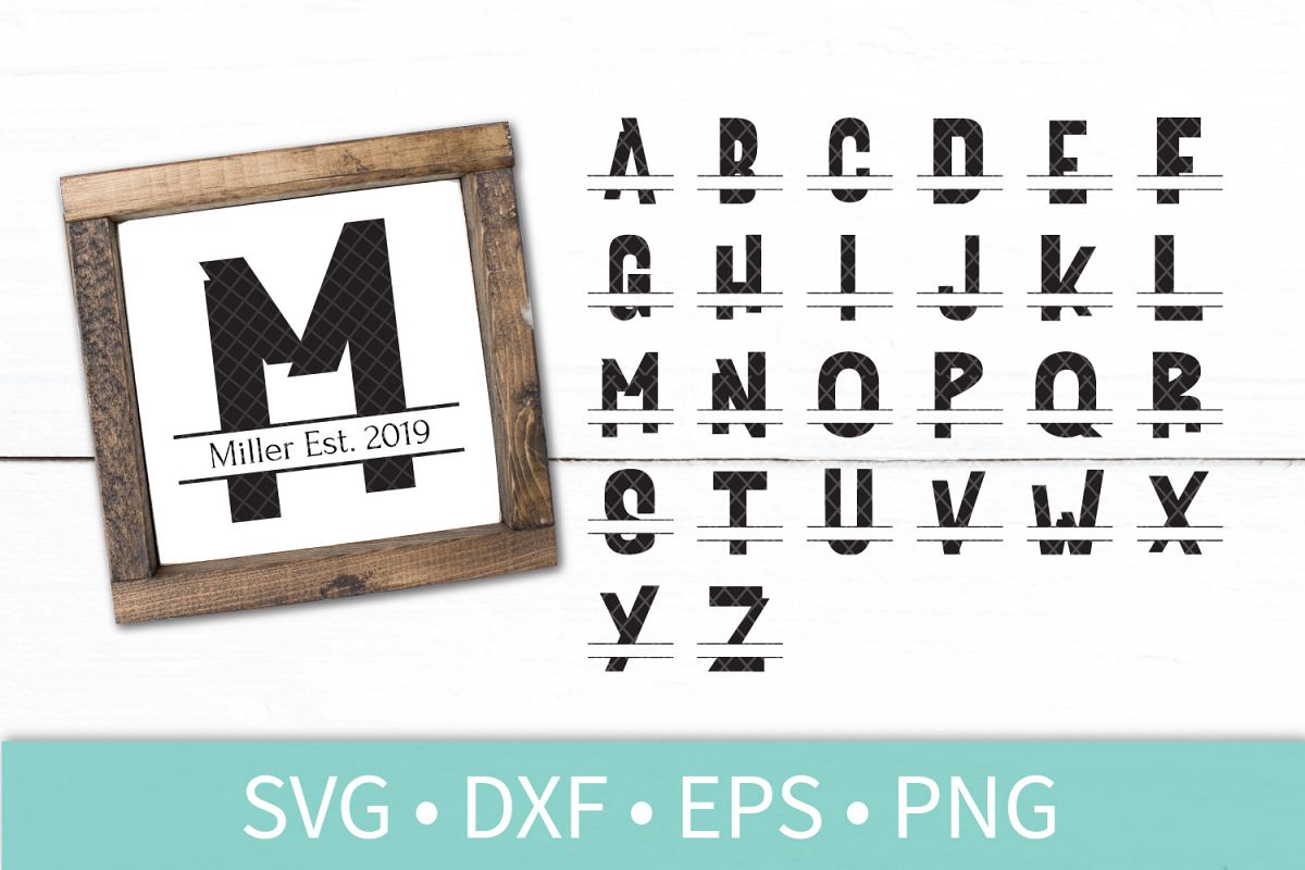 Chunky Split Letter Monogram Bundle SVG DXF EPS Silhouette Cut File