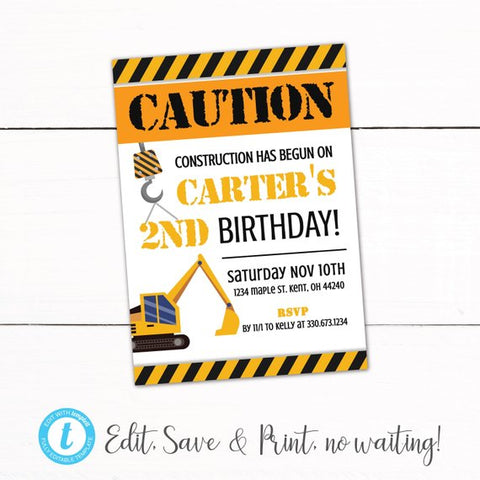 Construction Birthday Party Invitation - Under Construction Party Theme - Boys Birthday Invitation - Construction Party Decor - AutoDownload