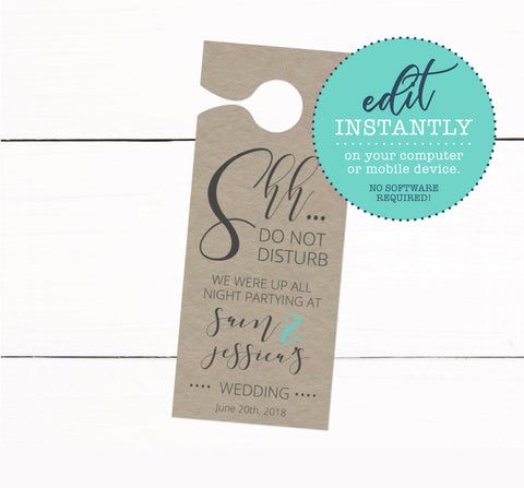 Do Not Disturb Wedding Door Hangers - Event Door Hangers - Kraft Door Hanger - Wedding Decor - Wedding Guest Favors - Rustic Wedding Decor
