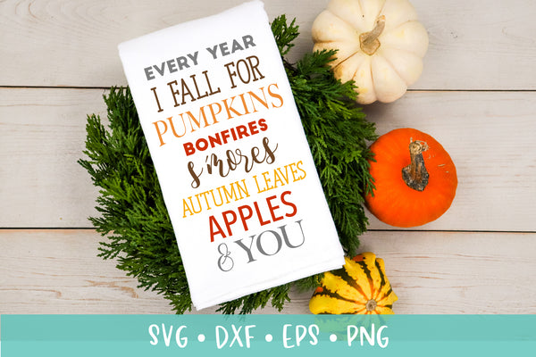 Every Year I Fall For Pumpkins SVG DXF PNG Cut File