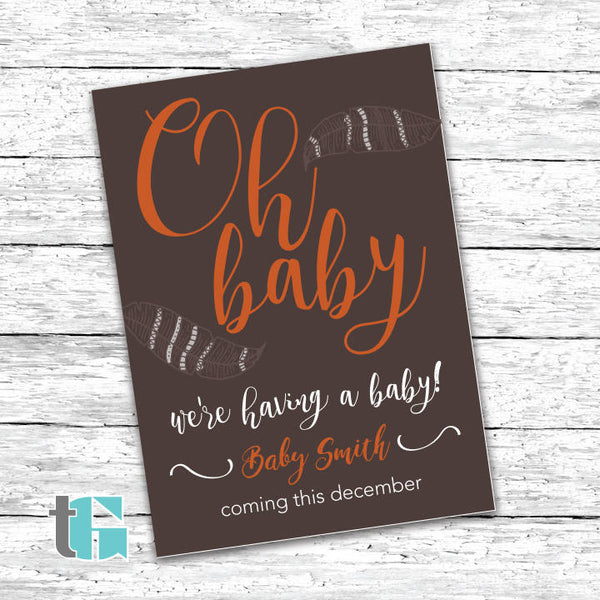 Pregnancy Announcement Card Printable - Mom to be - Dad to be - Pregnancy - Pregnant - Printable Card