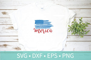 'Merica Distressed Flag SVG