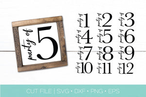 Party of Number Farmhouse Sign Bundle SVG DXF EPS Silhouette Cut File